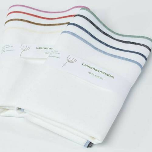 nahtur-design Leinenservietten 8er Set, 100% Leinen weiß