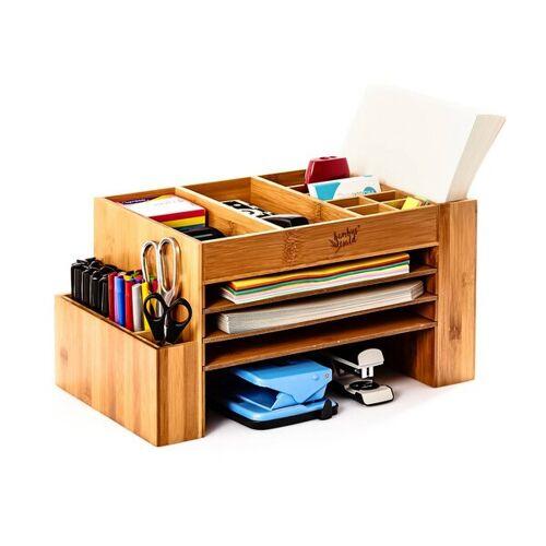 Bambuswald Xl - Schreibtischorganizer / Ablagefach Mit Vielen Fächern