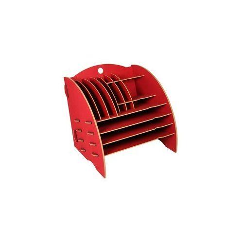 Werkhaus GmbH Schreibtisch Organizer Ordnungssystem Ablagebox Büro Holz 30 x 32 Cm Ver. Farben rot