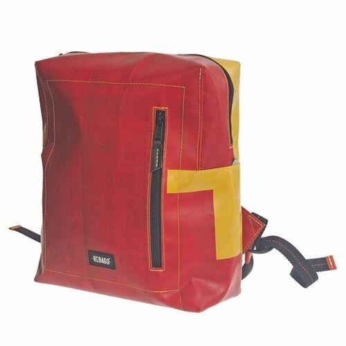 Rebago Rucksack Daniel Aus Recycelter Lkw-plane rot/gelb