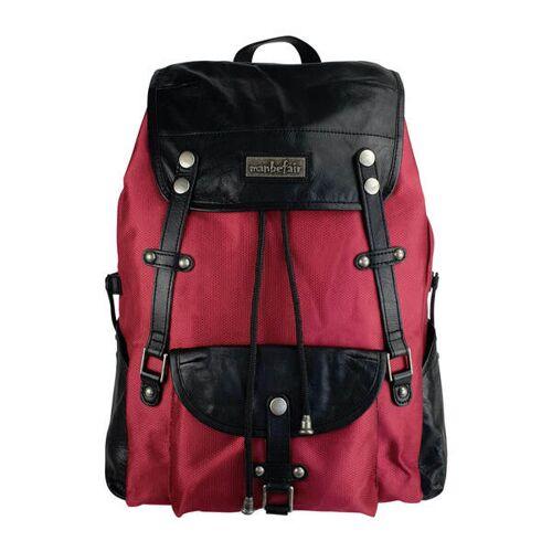 manbefair Robuster Laptop Rucksack Athena Aus Recyceltem Nylon Gewebe Und Rinds-leder rot