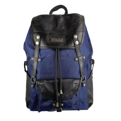 manbefair Robuster Laptop Rucksack Athena Aus Recyceltem Nylon Gewebe Und Rinds-leder blau