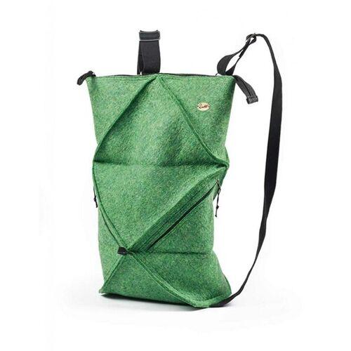 WoolFit Origami Rucksack - Faltbarer Filzrucksack Aus 100% Wolle grün