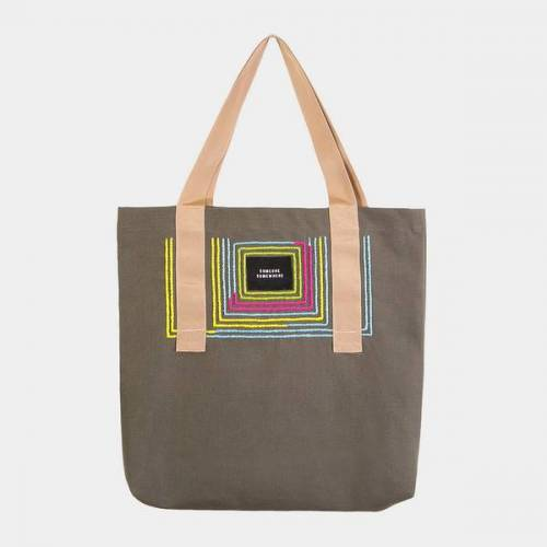Someone Somewhere Tote Bag Mit Handgesticktem Ornament - Made In Mexico olive (olive)