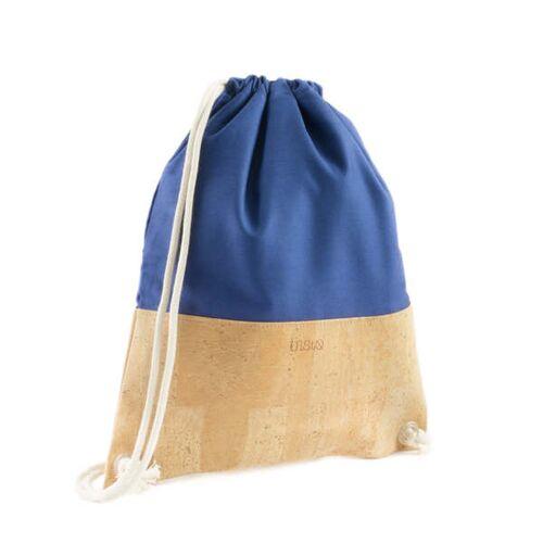 UlStO Ilex Blau Turnbeutel / Gymbag Kork Canvas blau beige