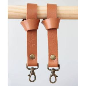 Pikfine Leder Taschenhalterung Für Kinderwagen & Buggy // 3 Farben cognac