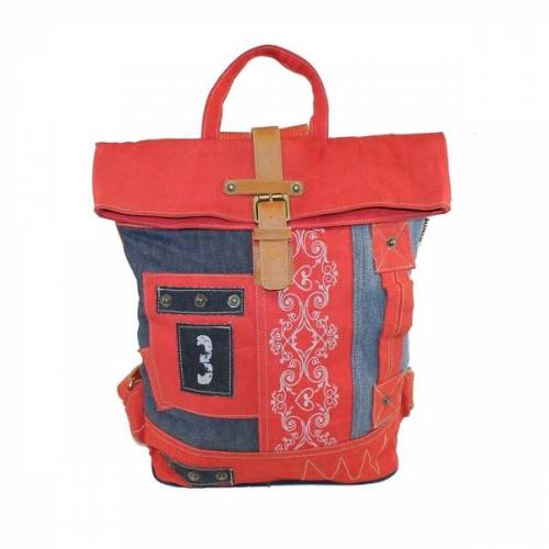 Sunsa Upcycling Rucksack Rot / Jeans rot