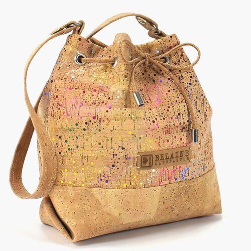 Belaine Manufaktur Handtasche Aus Kork // Mit Glitzer bunt
