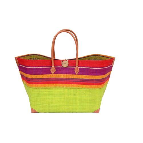 frosch und rabe Strandtasche Mery Gross Streifen / Uni Mit Leder Griffen (Maße: 62/45 x 36 x 23 Cm) anis red