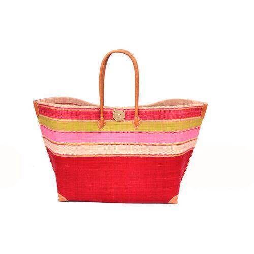 frosch und rabe Strandtasche Mery Gross Streifen / Uni Mit Leder Griffen (Maße: 62/45 x 36 x 23 Cm) red pink