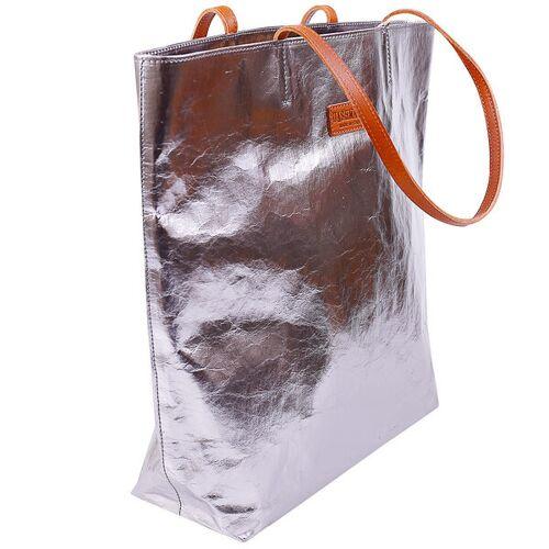 Uashmama Italienische Handtasche/shopper Tosca - Aus Zellulose acciaio