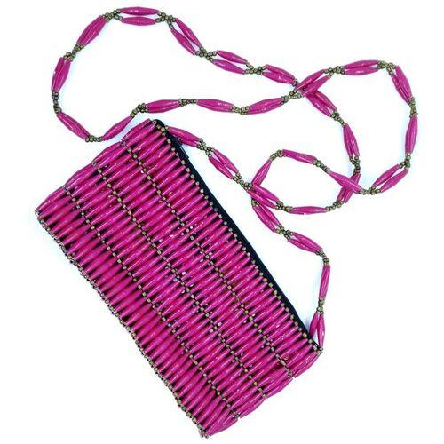 "PEARLS OF AFRICA Handtasche Aus Papierperlen ""Pink"" pink"