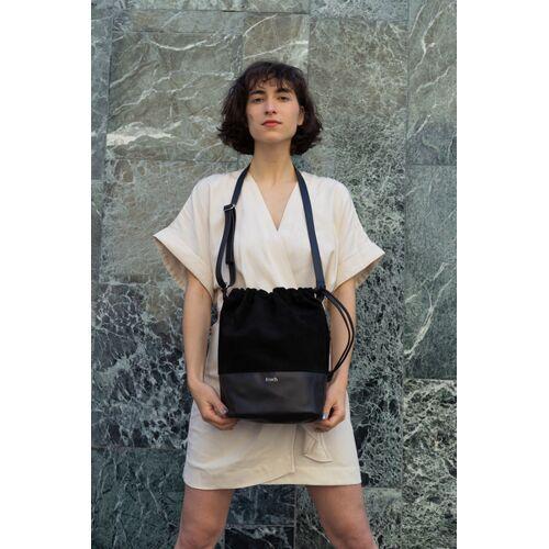 frisch Beutel Beuteltasche Bucket Bag Lederbeutel schwarz