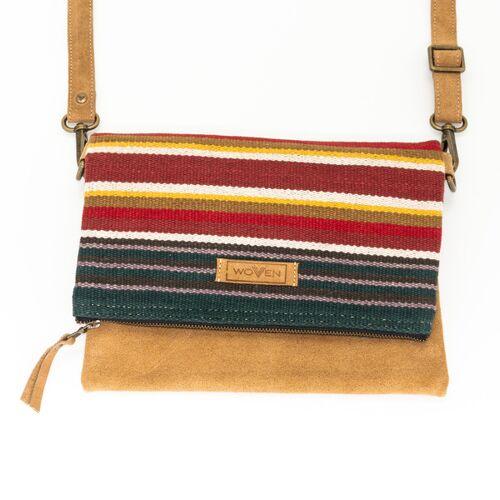"""Woven Damen Tasche Umhängetasche Clutch """"Woven Lea Flap Bag"""" Leder/baumwolle"""