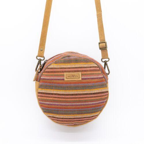 """Woven Damen Tasche Umhängetasche Rundtasche """"Woven Lea Round Side Bag"""" Leder/baumwolle"""