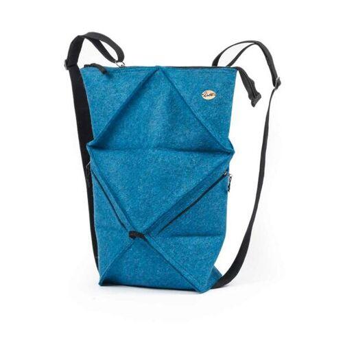 WoolFit Origami Rucksack - Faltbarer Filzrucksack Aus 100% Wolle blau
