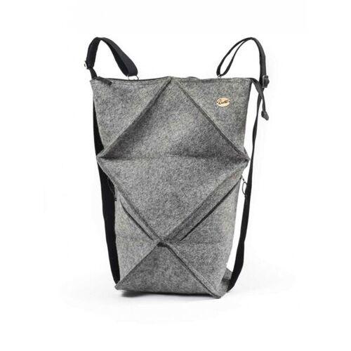 WoolFit Origami Rucksack - Faltbarer Filzrucksack Aus 100% Wolle grau