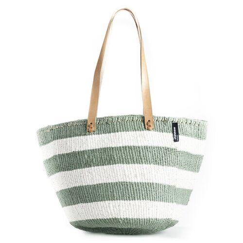 Mifuko Kiondo Tasche - Stripes - Sisal Umhängetasche - Upcycling - Mifuko grün