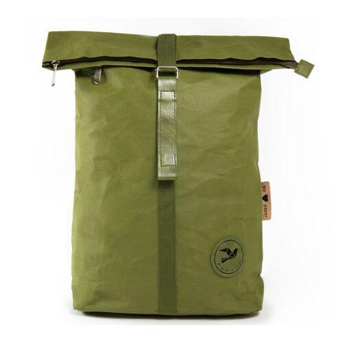 PAPERO Rucksack Aus Papier, Robust, Wasserfest & Vegan Rolltop grün
