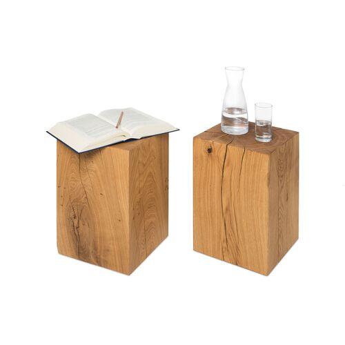GreenHaus Holzklotz Beistelltisch 30x30x50 Cm Eiche Massivholzblock Holzblock