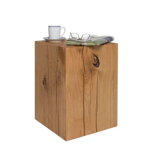 GreenHaus Holzblock Beistelltisch 36x36x50 Cm Eiche Massiv Holzklotz Couchtisch