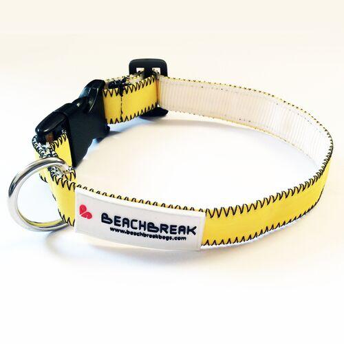 Beachbreak Verstellbares Hundehalsband Hergestellt Aus Gebrauchten Kites Unikat gelb