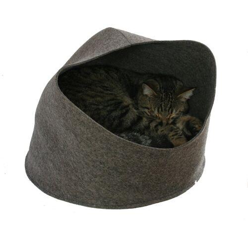 tuchmacherin - handgewebtes design + filz Katzenhöhle Katzenkorb Katzenbett Aus Filz Von Tuchmacherin