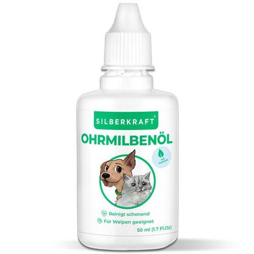 Silberkraft Ohrmilbenöl 50 Ml Für Hunde, Katzen Und Andere Haustiere, Gegen Ohrmilben, Ohrräude, Juckreiz, Hefepilz Und Entzündungen Am Ohr