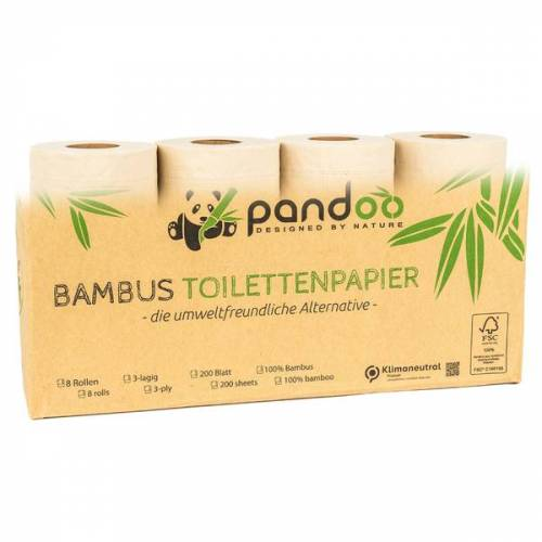 Pandoo Bambus Toilettenpapier - 8 Rollen á 200 Blatt - 3-lagig bambus 96