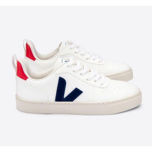 Veja Kinder Sneaker Vegan - V-10 Laces Cwl weiß (white cobalt pekin) 34