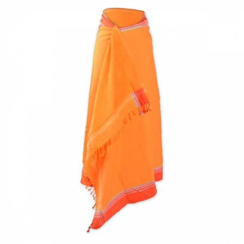 Africulture Kikoy Frottee Strandtuch, Sarong orange