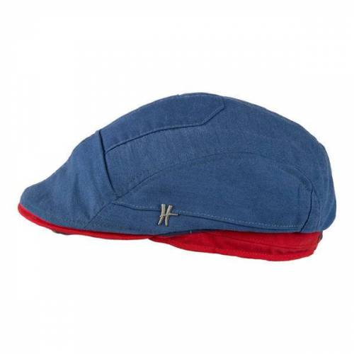 "ReHats Berlin Flatcap ""Geselle"" Aus Arbeitskleidung - Dunkelblau-rot rot 59 cm"
