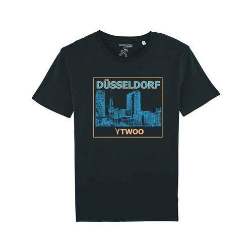 YTWOO Düsseldorf, Herren Bio T-shirt. Düsseldorfer Medienhafen schwarz XXL