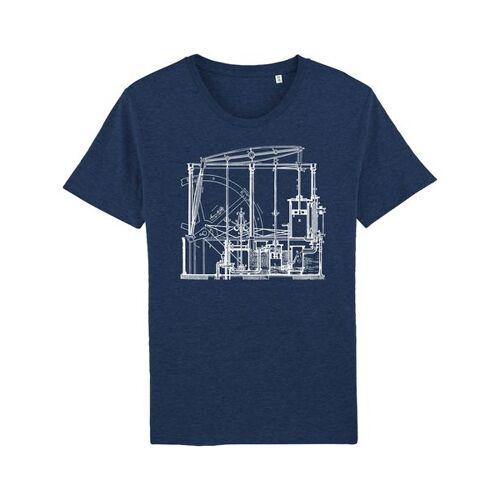 Unipolar Maschinenbau T-shirt   Dampfmaschine black heather blue S