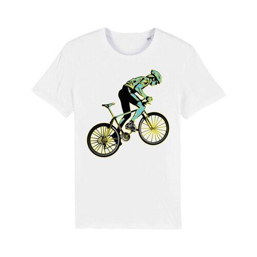 YTWOO Bio T-shirt Mit Rennrad, Bio Shirt Mit Rennradfahrer, Bike Shirt, weiss L