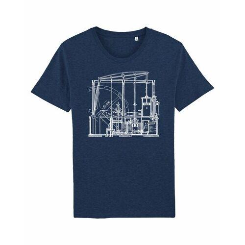 Unipolar Maschinenbau T-shirt   Dampfmaschine black heather blue XXL