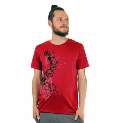 """Spangeltangel Herren-t-shirt """"Fahrräder"""" Einseitig Bedruckt rot M"""