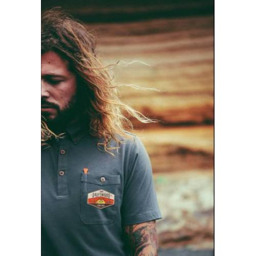 The Driftwood Tales Rotes Poloshirt / Graues Poloshirt / Graues Poloshirt Mit Driftwood Emblem grauemblem S