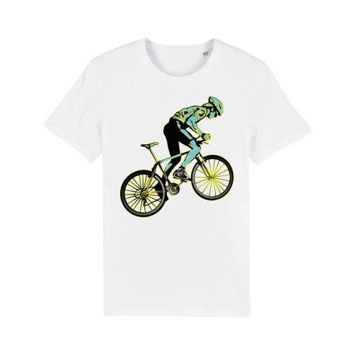 YTWOO Bio T-shirt Mit Rennrad, Bio Shirt Mit Rennradfahrer, Bike Shirt, weiss XL