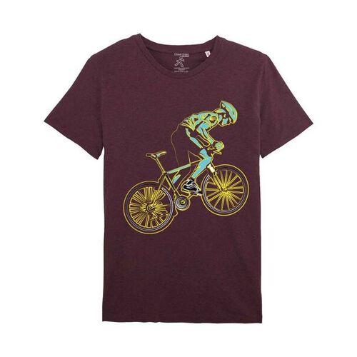 YTWOO Bio T-shirt Mit Rennrad, Bio Shirt Mit Rennradfahrer, Bike Shirt, heather grape red XL