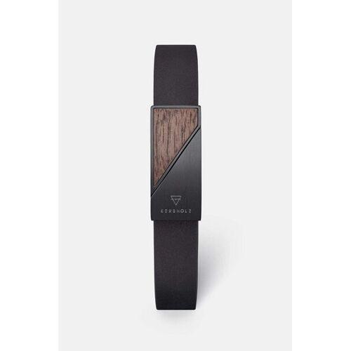 Kerbholz Armband Mit Holzelement 'Magnetic Strap' schwarz walnuss