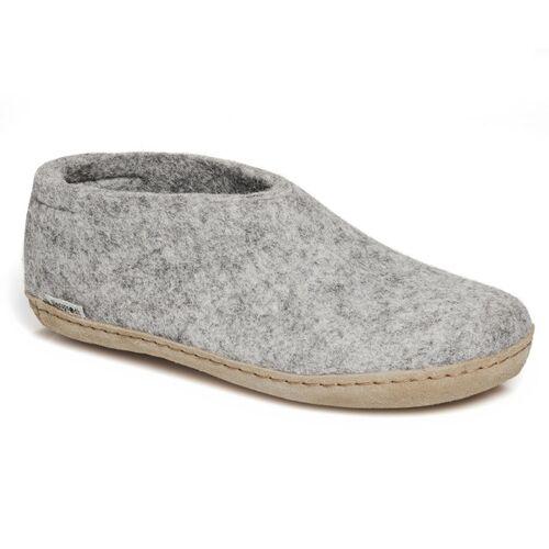 glerups Hausschuhe Herren - The Shoe Leather - Leder grau (grey) 46