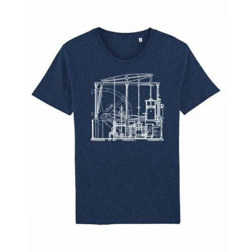 Unipolar Maschinenbau T-shirt   Dampfmaschine black heather blue XS