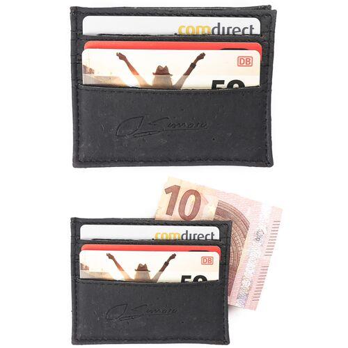 Simaru Karten Portemonnaie Aus Kork, Kreditkartenetui Für 12 Karten schwarz