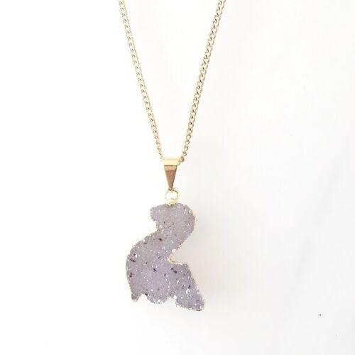 Crystal and Sage Dino Halskette Mit Glitzernder Kristalldruse Aus Achat, Vergoldet vergoldet