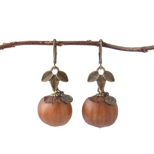 Zimelie Holzschmuck Pure Haselnuss Ohrringe In Bronze   Naturschmuck haselnuss