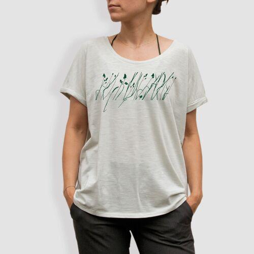 """little kiwi Damen T-shirt, """"Wiese"""", Weiss - Opaline/white opaline S"""