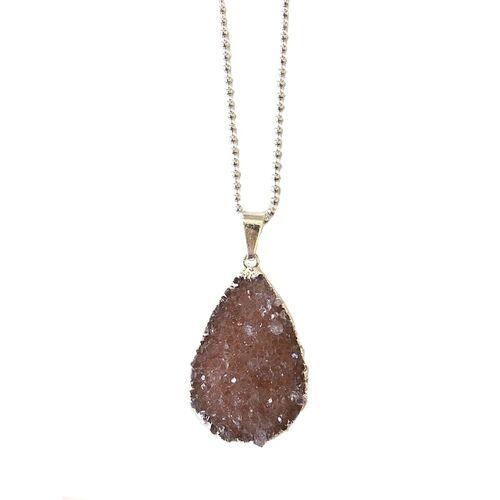 Crystal and Sage Halskette Mit Vergoldetem Achat In Tropfen Von Crystal And Sage silber