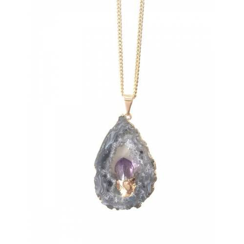 Crystal and Sage Alma - Halskette Mit Einer Achatscheibe Und Eingefasstem Amethyst gold