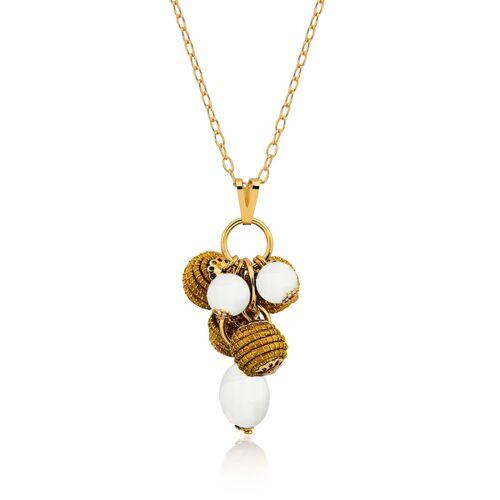 Aline Celi Halskette Mia Bio Aus Golden Grass jade weiß
